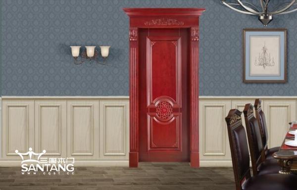 重庆三唐木门:红色木门效果图展示